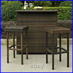Palm Harbor Outdoor Wicker Bar Height Stool (Set Of 2) In Brown