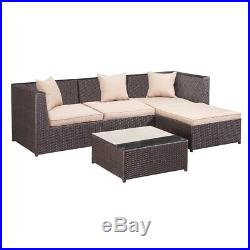 Palm Springs Outdoor 5 pc Furniture Wicker Patio Set with Chairs, Table & Cushions