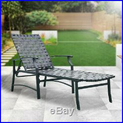 Patio Adjustable Outdoor Recliner Strap Chaise Reclining Lounge Beach Chair New