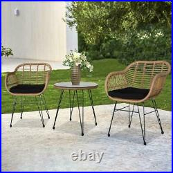 Patio Bistro Set 3 Pcs Outdoor Wicker Chair Table Patio Rattan Furniture Wicker