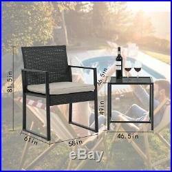 Patio Bistro Set 3 Pieces Outdoor Wicker Chair Patio Rattan Furniture Wicker Con