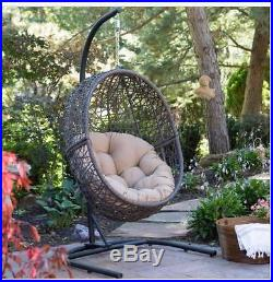 Patio Chair Outdoor Hanging Furniture Egg Resin Wicker Cushion Seat Porch  Swing