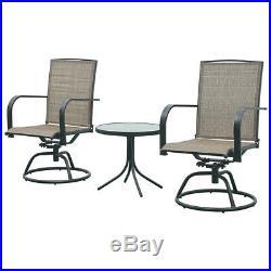 Patio Furniture 3 PCS Swivel Bar Sets Textilene Bistro Table Chairs Garden Decor