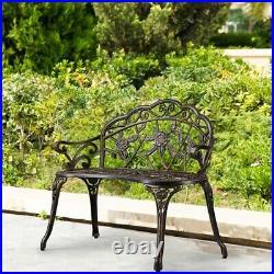 Patio Garden Bench Outdoor Park Bench Floral Cast Aluminum Furniture Backyard