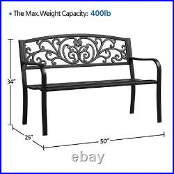 Patio Garden Bench Park Bench Outdoor Furniture Iron Metal Bench Porch Yard Deck