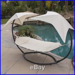 Patio Hammock with Sunroof Canopy Outdoor Swing Backyard Beach Yard SunShade Beige
