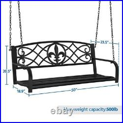 Patio Hanging Bench Porch Swing Bench with Chains Outdoor Garden Deck Backyard