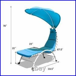 Patio Hanging Chaise Lounger Chair Swing Hammock Cushion withCanopy Turquoise