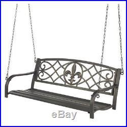 Patio Metal Swing Porch Deck Furniture Bench Park Seat 2 Person Fleur-de-Lis NEW