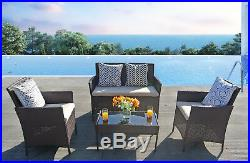 Patio Outdoor Balcony Furniture 4Pcs Small Sofa Set Brown Wicker Clearance Pool