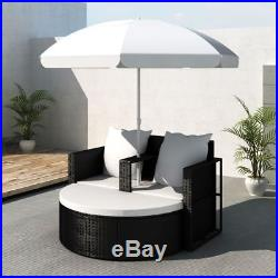 Patio Outdoor Black Furniture Rattan & Wicker Lounge Set Sunbed Sofa with Parasol