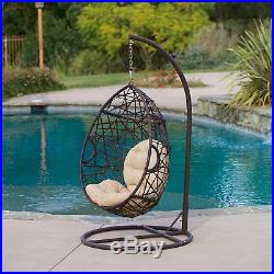 Patio Outdoor Brown Wicker Tear Drop Swing Chair With Arching Stand Iron Frame