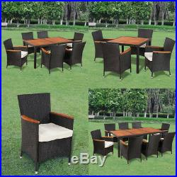Patio Outdoor Garden Dining Set Rattan Wicker Acacia Wood Choice of 3 Models