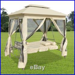 Patio Outdoor Gazebo Swing Canopy Hammock Seat Sunbed Sofa Curtains Cream White