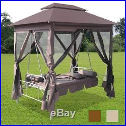 Patio Outdoor Luxury Gazebo Swing Hammock Seat Sunbed withCurtain Coffee/White