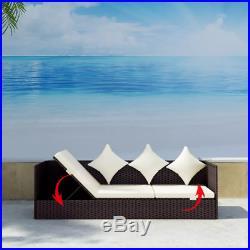 Patio Outdoor Sun Lounger Bed Rattan Wicker Brown Day Bed Sofa Garden US Stock N