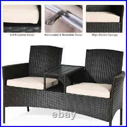 Patio Rattan Conversation Set Loveseat Sofa Cushioned Plastic Table Home Brown