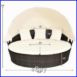 Patio Rattan Daybed Wicker Outdoor Sofa Bed Furniture Set with Canopy Pillow Table