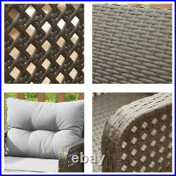 Patio Rattan Sofa Set 5 Pcs Wicker Garden Furniture Outdoor Sectional Couch Gray