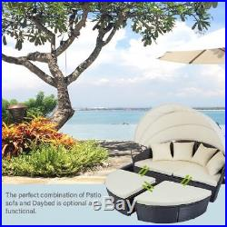 Patio Round Daybed Furniture Wicker Rattan Sofa Sunbed Retractable Canopy Garden