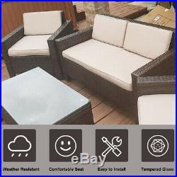 Patio Sofa Set 4 Pcs Outdoor Furniture Set PE Rattan Wicker Cushion Outdoor Gard