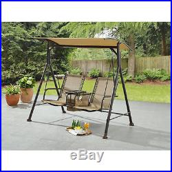 Patio Swing 2 Person With Canopy & Table Outdoor Furniture Garden Porch Tan
