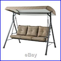 Patio Swing Canopy Outdoor Furniture Garden Porch Padded Seat Set 3 Person Brown