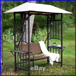 Patio Swing Chair With Canopy Porch Stand Outdoor Glider Resin Wicker 2  Person