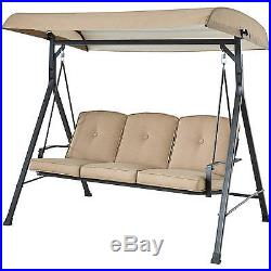 Patio Swing With Canopy 3 Person Outdoor Furniture Backyard Porch Tan Cushion