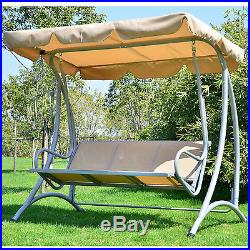 Patio Swing With Canopy 3 Person Outdoor Seat Hammock Bench Yard Loveseat