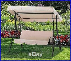 Patio Swing With Canopy Porch Outdoor Covered Swing Sets Steel Cushioned 3  Seat