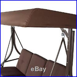 Patio Swing With Canopy Porch Outdoor Lawn Swings 3 Person Seat Garden Furniture