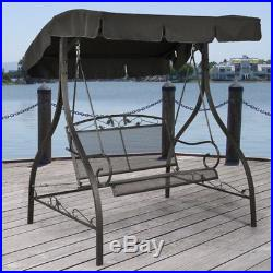 Patio Swing with Canopy 2 Person Metal Outdoor Furniture Backyard Porch Black