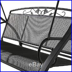 Patio Swing with Canopy 3 Person Metal Outdoor Furniture Backyard Porch Black