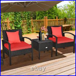 Patiojoy 3PCS Patio Rattan Furniture Set Cushioned Sofa Storage Table Deck Red