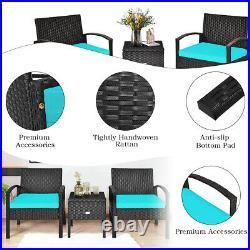 Patiojoy 3PCS Patio Rattan Furniture Set Storage Table Cushioned Sofa Turquoise