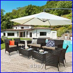 Patiojoy 8PCS Rattan Patio Furniture Set Cushioned Sofa Chair Coffee Table Set