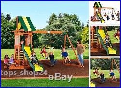 Playground Wood Playset Swing Set Kit DIY Slide Sandbox Backyard Outdoor Kid  Toy