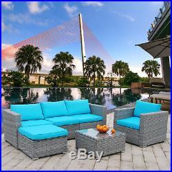 Polar Aurora 6pcs Patio Furniture Set Rattan Wicker Sectional Outdoor Sofa Set