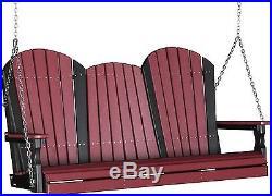 Poly Furniture Wood 5 Foot Adirondack Porch Swing CHERRYWOOD & BLACK 5 Ft