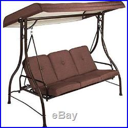 Porch Outdoor Swing 3 Person Patio Canopy Bench Furniture Convertible Hammock