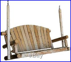 Porch Swing 5 Ft Patio Swinging Hanging Bench Chair Seat Rustic White Cedar Wood