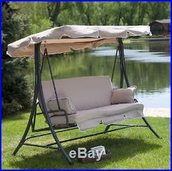 Porch Swing Bed With Cushions Canopy Stand Patio Deck Outdoor Furniture  Comfort