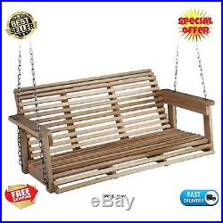 Porch Swing Bench Wood Hanging Patio Chair Seat Wooden Outdoor Deck Backyard NEW