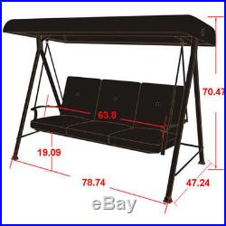 Porch Swing Canopy Furniture 3 Seats Cushion Hammock Patio Garden Chair Glider
