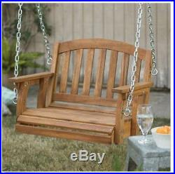 Porch Swing Chair Hanging Seat Wood Outdoor Patio Seating Tree Single Backyard