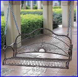 Porch Swing Iron Patio Bench Seating Outdoor Garden Yard Rustic Metal Furniture