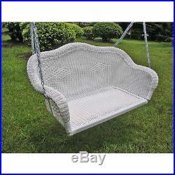 Porch Swing Outdoor Patio Furniture Garden Seat Hammock Yard Wicker White NEW