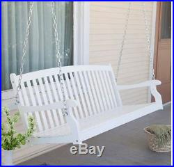 Porch Swing White 5 Ft Wood Outdoor Furniture Bench Seat Tree Hanging 2 Person