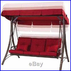 Porch Swing With Canopy Cover Red Cushion Patio Bed Outdoor Seat 3 Person Steel